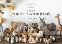 Hashimoto Mio First wood carving animal Tenarai Pledge Book game toy Japan