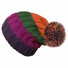 Ladies Chunky Stripe Knitted Slouch Beanie Hats With Pom Pom Winter Woolly Hats