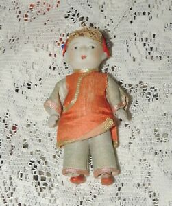 """Vintage 3.75"""" Japan Strung Bisque Boy Doll in Asian Outfit....LOOK"""