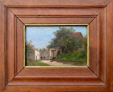 """Tableau ancien par Albert-François Fleury 1848-1925. """"L'entrée du village."""""""