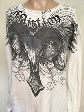 AFFLICTION GRAPHIC WAFFLE THERMAL SHIRT White LONG SLEEVE Embroidered USA 2XL