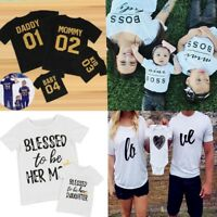 Family Mommy Dad Outfits Mother Child Matching Short Sleeve Shirts Blessed Tops