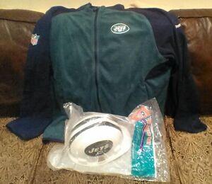 NFL New York Jets Fleece Zip Up Sweater Official Team Hard Hat OSHA Certified NY