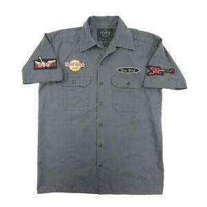 Hard Rock Cafe New York Men's Gray Short Sleeve Mechanics Shirt Size Small