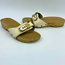 Vintage 1970s Dr Scholls Exercise Sandals size 8 Off White Leather A1