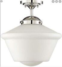"Trade Winds Dorothy 14"" Schoolhouse Ceiling Light Polished Nickel"