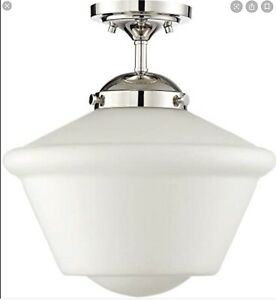 """Trade Winds Dorothy 14"""" Schoolhouse Ceiling Light Polished Nickel"""
