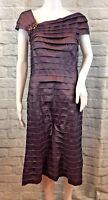 TADASHI SHOJI Women's Purple Tiered Cap Sleeve Sheath Dress W/ Jewel Accent Sz 8