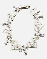Open Heart Scroll Filigree Cross Delicate Feminine Silver Faith Bracelet