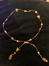 Long Wrap Necklace With Coral Beads & Gold Butterfly Charms used