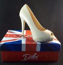 Diba London TENITH Nude Peep Toe Platform Heels Size 7 1/2 Patent Look NIB