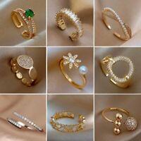 Crystal Open Ring Flower Heart Gold Zircon Adjustable Finger Wedding Ring Women