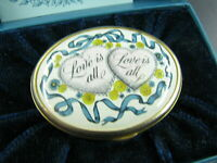 NEW NOS VTG BILSTON BATTERSEA Halcyon Days VALENTINES 1976 ENAMEL TRINKET BOX