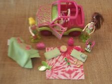 Polly Pocket Lot Dolls Girls Car Vehicle Jeep Pink Camping Accessory Pet X59