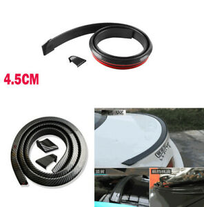 1.5M 4.5cm Widened 5D Rubber Glossy Carbon Fiber Car Rear Roof Spoiler Lip Wing