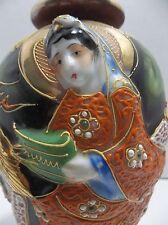 Vintage Japanese Porcelain Moriage Vase Gold Gilt Dragon Immortal Raised Relief