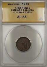 1864 Patriotic Civil War Token 241/338a Anacs Au-55