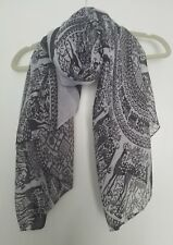 Black & white scarf deer & Mandela pattern cotton voile