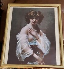 "Coca-Cola ""Drink Coca Cola 5 Cents""Naked Women Picture Print framed 22"" x 18"""