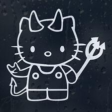Hello Kitty Diablo Pitchfork Coche O Portátil Calcomanía Vinilo Adhesivo Para Ventana Panel