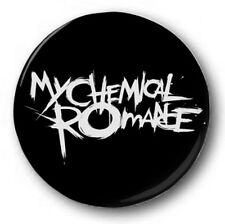 "My Chemical Romance Logo - 25mm 1"" Button Badge - Gerard Way, White on Black"