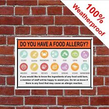 Food Allergy Warning notice Sign or Self-Adhesive Vinyle Label Sticker 3217 a5 15