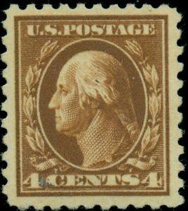 US #427 4¢ orange brown, p. 10, og, XLH, XF