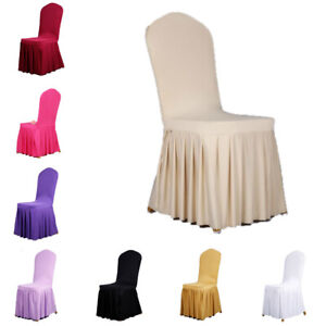 Pleated Skirt Chair Cover Stretch Slipcover Wedding Party Banquets Decor