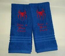 CUSTOM PERSONALIZE MARVEL SPIDERMAN LOGO BLUE EMBROIDERED BATH HAND TOWEL SET