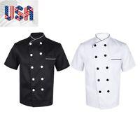 US Unisex Chef Cooker Uniform Jacket Coat Short Sleeve Kitchen Apparel Outfit