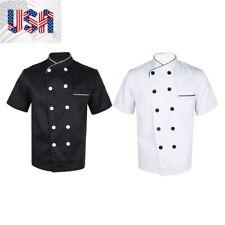 Unisex Chef Cooker Uniform Short Sleeve Kitchen Apparel Vest Outfit Jacket Coat