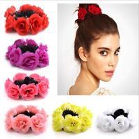 Elastic Ponytail Holder Scrunchie Stylish Women Girl Rose Flower Hair Band Rope