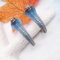 Schlange Snake Antik Nostalgie Design Ohrringe Ohrstecker türkis blau Kupfer neu