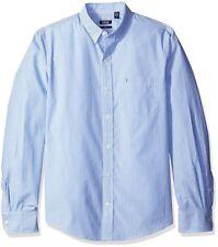 IZOD Men's Essential Slim Stripe Long Sleeve Shirt American Dream Blue/White XL