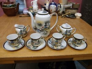 RITZ CHINA HAND PAINTED JAPANESE COFFEE SET COFFEE CUPS COFFEE POT MILK & SUGAR