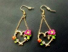 E924 Betsey Johnson Hawaiian Tropical Flower Garden Dangling Heart Earrings UK