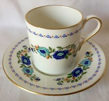 LOVELY AYNSLEY BLUE FLORAL DEMITASSE CUP & SAUCER, GREAT CONDITION, MARLINA