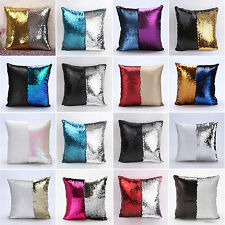 Magic Reversible Mermaid Sequins Cushion Glitter Cover Sofa Throw Pillow Case AU