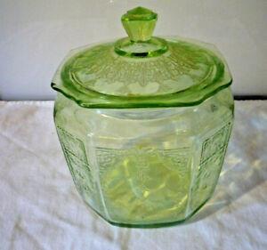 Green Depression Glass Princess Pattern Biscuit/Cookie Jar W/ Lid