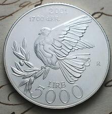 """2001   San Marino 5000 lire """"Peace""""  silver coin UNC"""