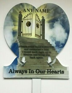 ANY NAME Memorial Plaque Grave Stairway to Heaven Tribute Cemetery Personalised