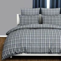 Bamford 100% Cotton Soft Checked Check Stripe Quilt Duvet Cover Bedding Set