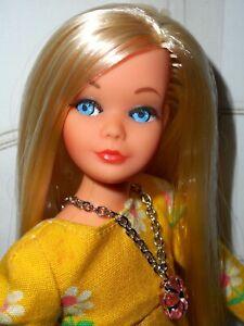 Vintage Barbie OOAK PLATINUM LONG HAIR LIVING SKIPPER DOLL BEACHY PEACHY DRESS +