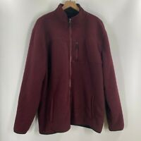 Weatherproof Vintage Mens Burgundy Fleece Lined Full Zip Jacket Size XL