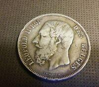 BELGIUM BELGIQUE 1873 SILVER COIN 5 FRANCS LEOPOLD II .900