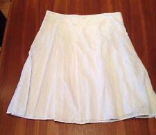 FLETCHER JONES White Embroidered Paisley A-Line Box Pleat Cotton Skirt 16