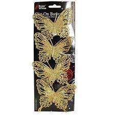 Natale - 4 Pacco Clip Su Farfalla Glitter Decorazioni Albero-Oro