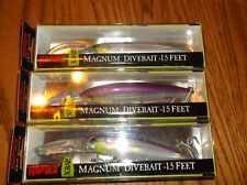 RAPALA X-RAP MAGNUM 15's--lot of 3 PURPLE ALBINO COLORED-FISHING LURES-XRMAG15