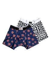 Mens Quiksliver 2 Pack Stretch Cotton Boxer Shorts Underwear (Blue/White) S