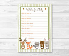 Woodland Forest Animals Printable Baby Shower Wishes for Baby Advice Cards